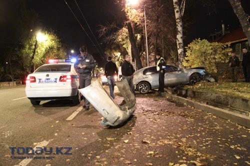 Ночной «полет» «Тойоты» прервало дерево (фото)