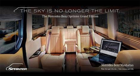 Mercedes-Benz перенес интерьер бизнес-джета в фургон Sprinter