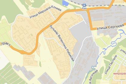 Бульвар Рябикова в Иркутске. Изображение: сервис Яндекс.Карты