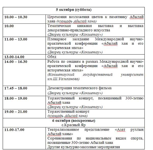 Программа мероприятий на 300-летие Абылай хана в Акмолинской области
