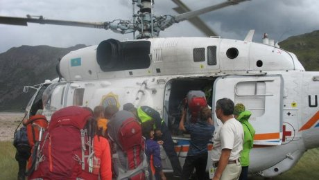 Эвакуировали группу российских туристов изверховья реки Чилик