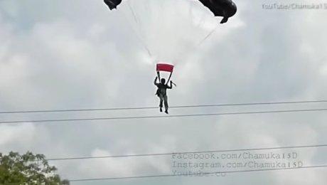 ВШри-Ланке парашютистка выжила после столкновения слиниями электропередачи