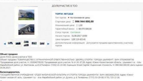Ледовый Дворец Шымкента продан на торгах (приватизирован)