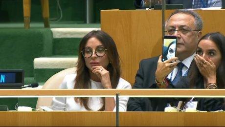 Вовремя выступления Алиева вОрганизации Объединенных Наций его дочь строила гримасы