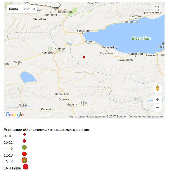 В136км отАлматы натерритории Кыргызстана зафиксировали очередное землетрясение
