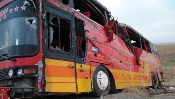 Пассажирский автобус перевернулся натрассе Алматы— Шымкент