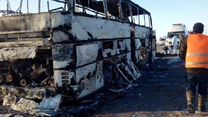 Первопричиной пожара вавтобусе вКазахстане стало использование открытого огня всалоне