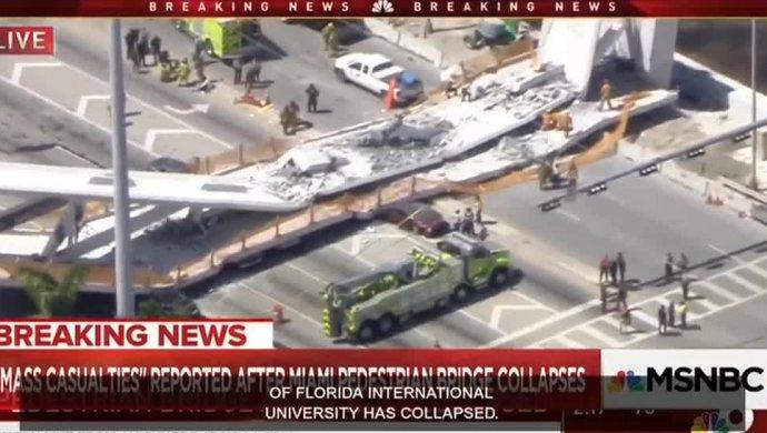 ВМайами обвалился пешеходный мост
