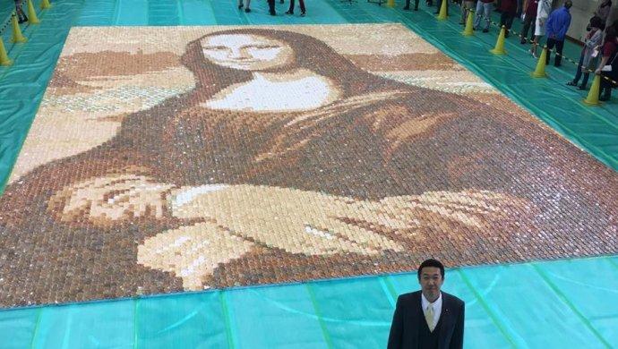 Японцы установили рекорд, собрав изрисовых крекеров мозаику «Мона Лизы»