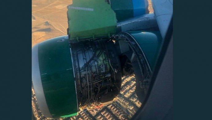 Упассажирского лайнера вовремя полета разрушилась обшивка мотора