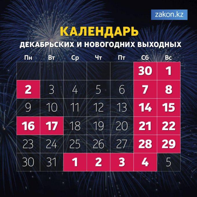 Сколько дней отдохнут казахстанцы в декабре и на Новый год